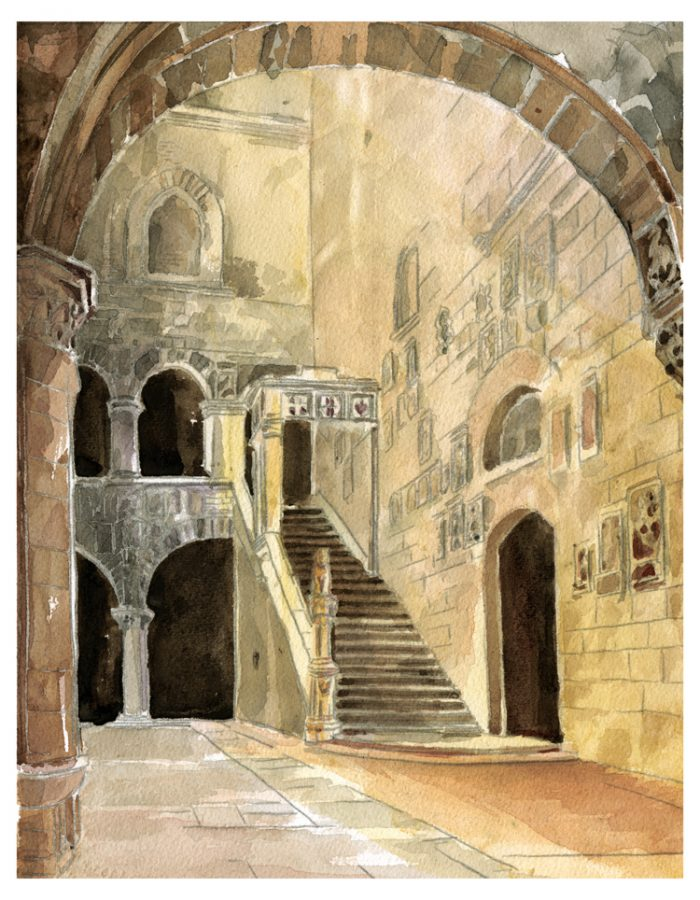Bargello Courtyard - 20x24 - Watercolor, Graphite