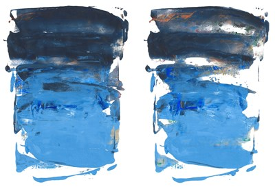 Blue Windows (I & II) - 9x12 each - Gel press acrylic monoprint on paper