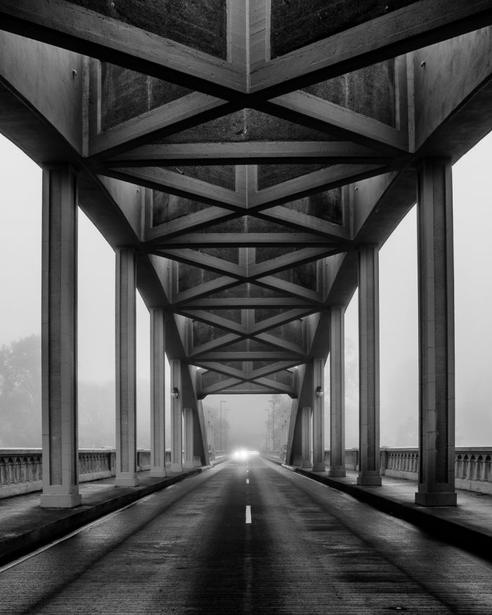 Centerline of the Bridge on a Foggy Morning - 16x20 - Photography
