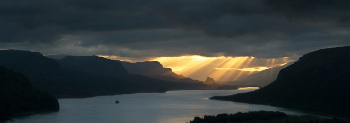 Crepuscular Rays, Columbia River Gorge 2012 - 40x14 - Photography