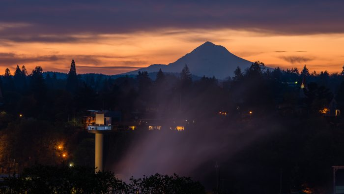 Elevator and Mt. Hood Silhouette at Sunrise - 16x24 - Photography