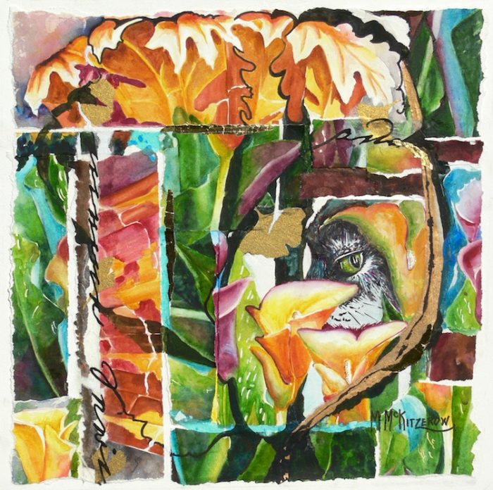 Eye in the Lilies - 20x20 - Collage made with the Artist's Watercolor Paintings