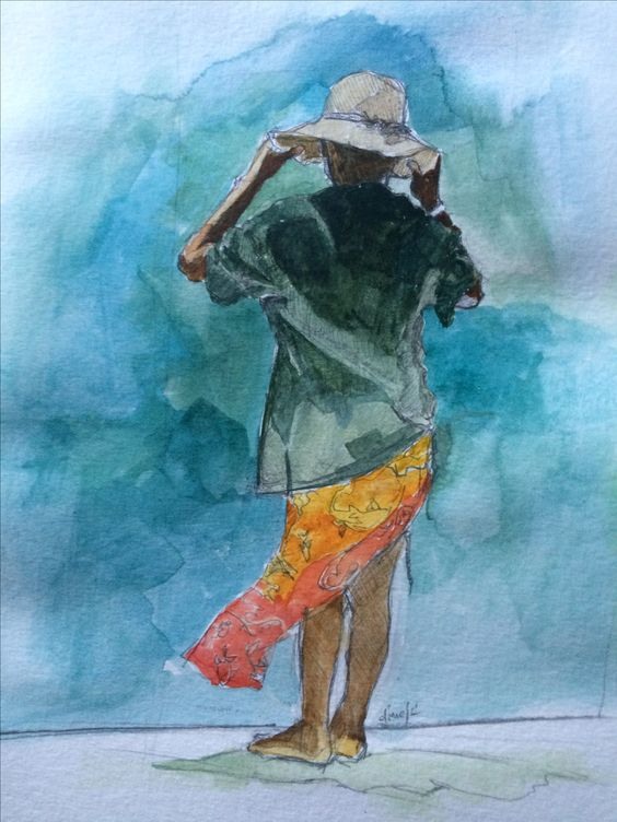 Fish Lady - 8x10 - Watercolor on Paper