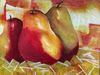 Fresh Pears - 14x11 - Acrylic and Collage