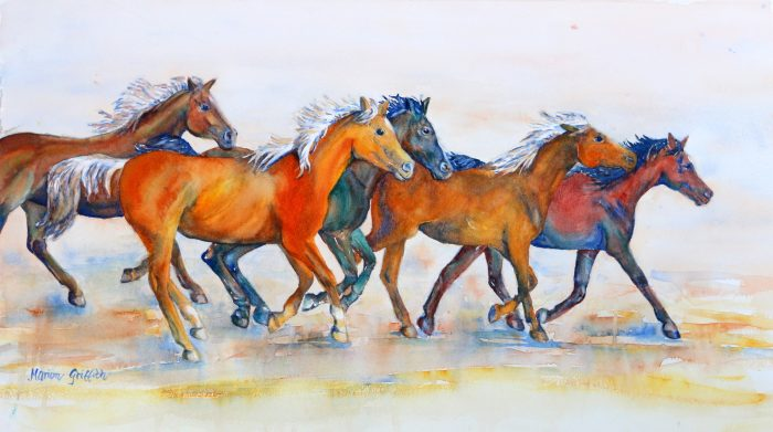 Herd in Flight - 22x11 - Watercolor
