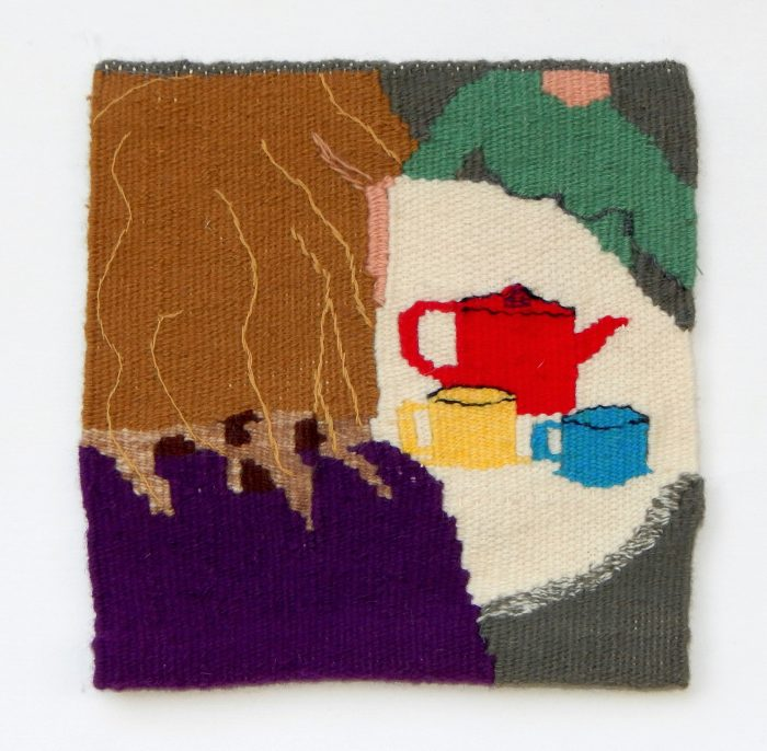 Laney Humphrey - Come Let's Drink Tea and Think of Happy Things - 14x14 - Handwoven Tapestry