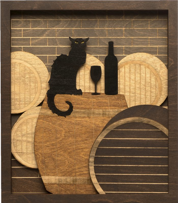Le Chat De Vin - 12x14x1 - Wood