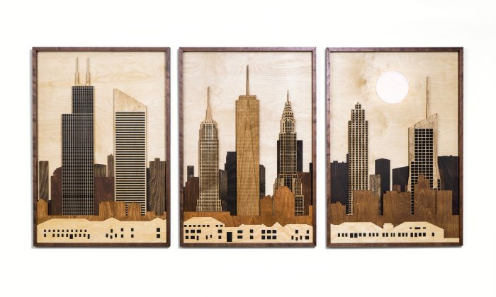 New York, New York - 86.5x40x2 - Wood