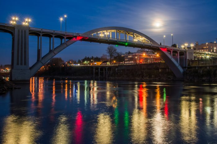 Oregon City Lights and Full Moon Over the Bridge - 16x24 - Photography