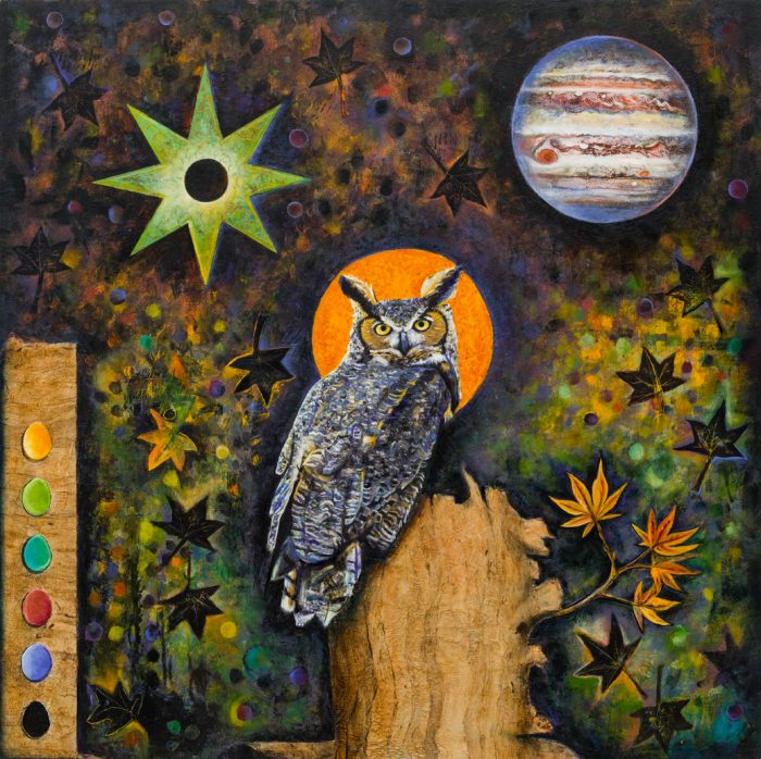 Owl's Palette - 30x30 - Artist-made 'Amate-style Bark Paper' with Oils on Birch