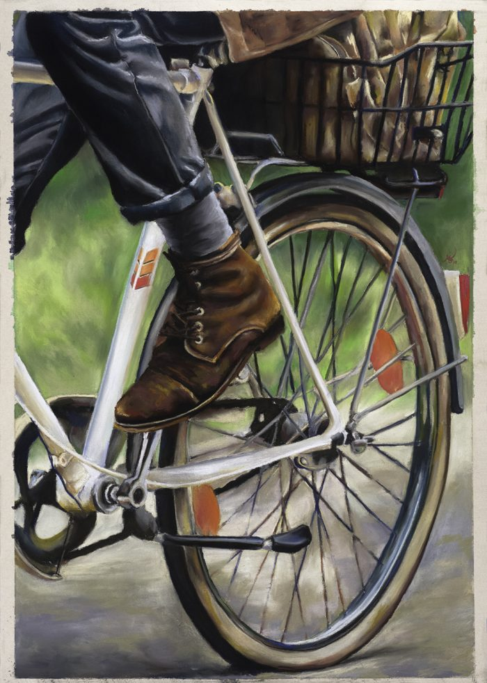 Peddling Onward - 17x23 - Pastels