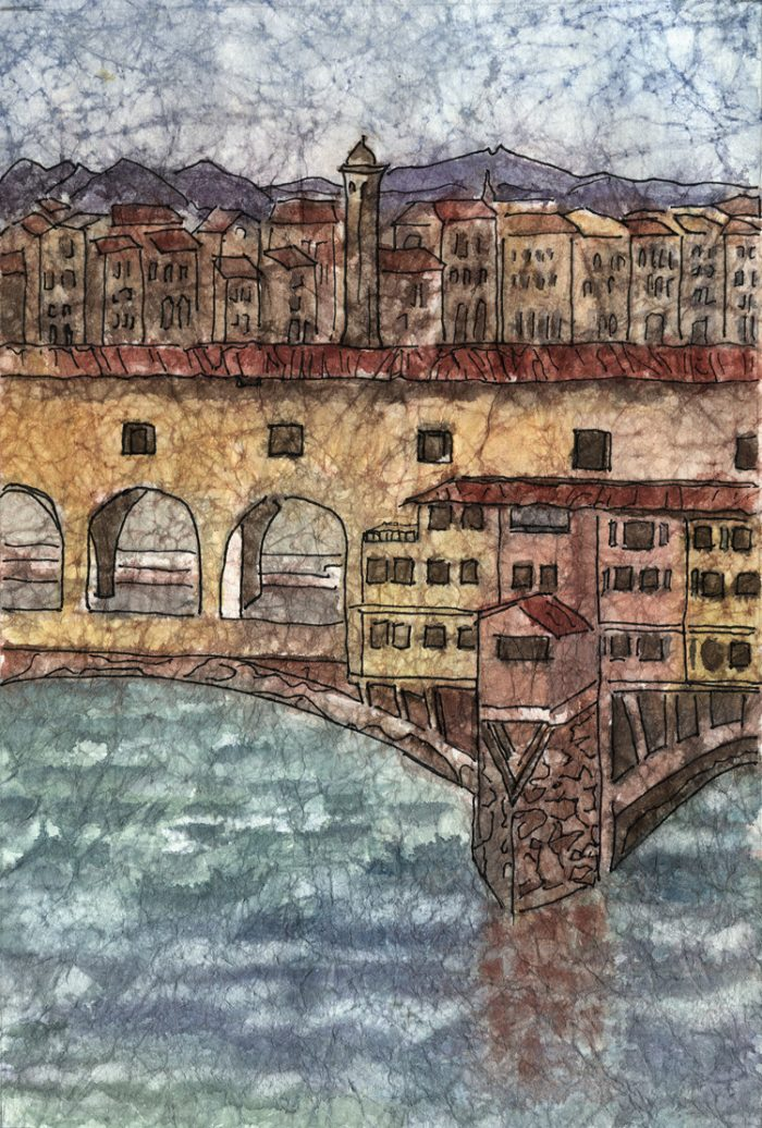 Ponte Vecchio - 15x18 - Watercolor and Ink on Masa Paper