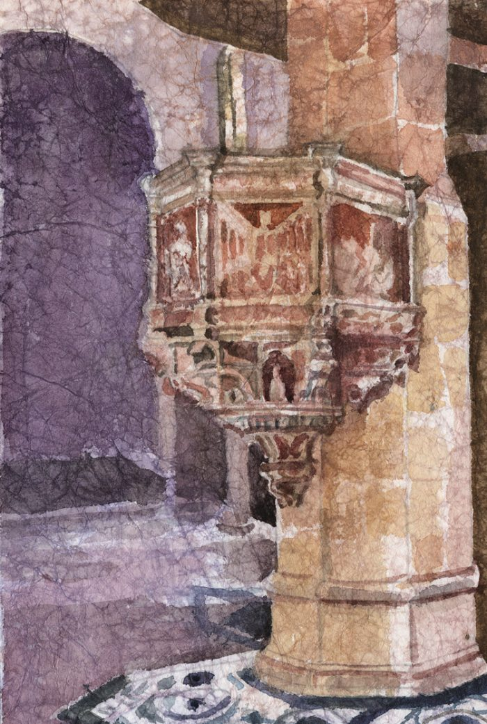 Pulpit in Santa Croce - 18.25x22 Watercolor on Masa Paper