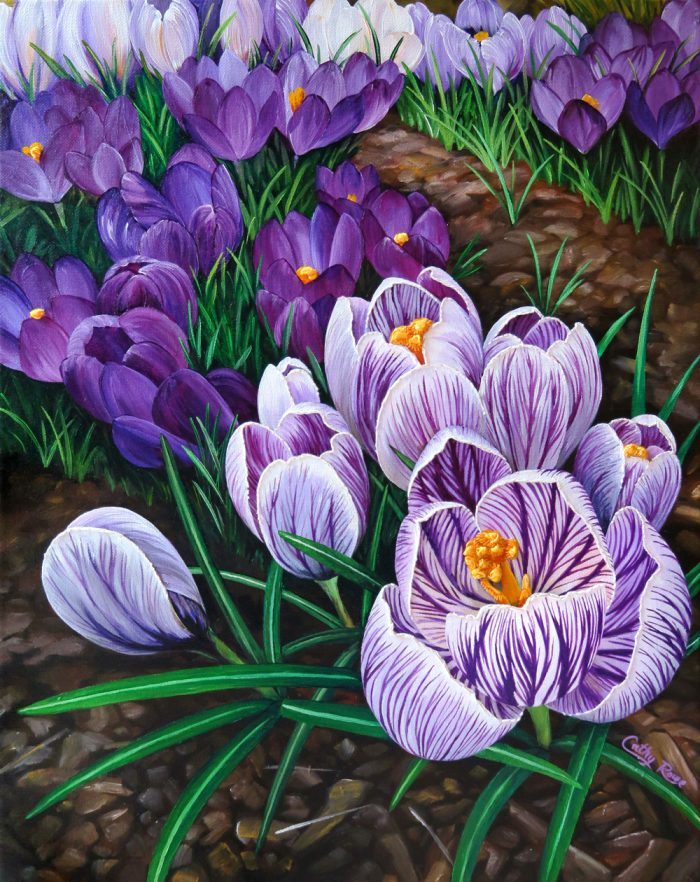 Purple Crocuses - 16x20 - Acrylic and Embroidery