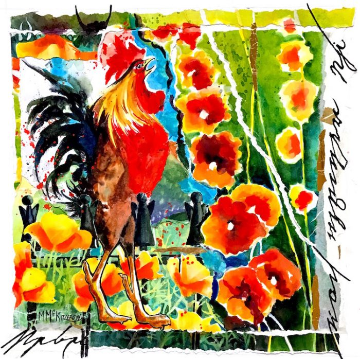 Rooster and Hollyhocks - 20x20 - Collage made with the Artist's Paintings