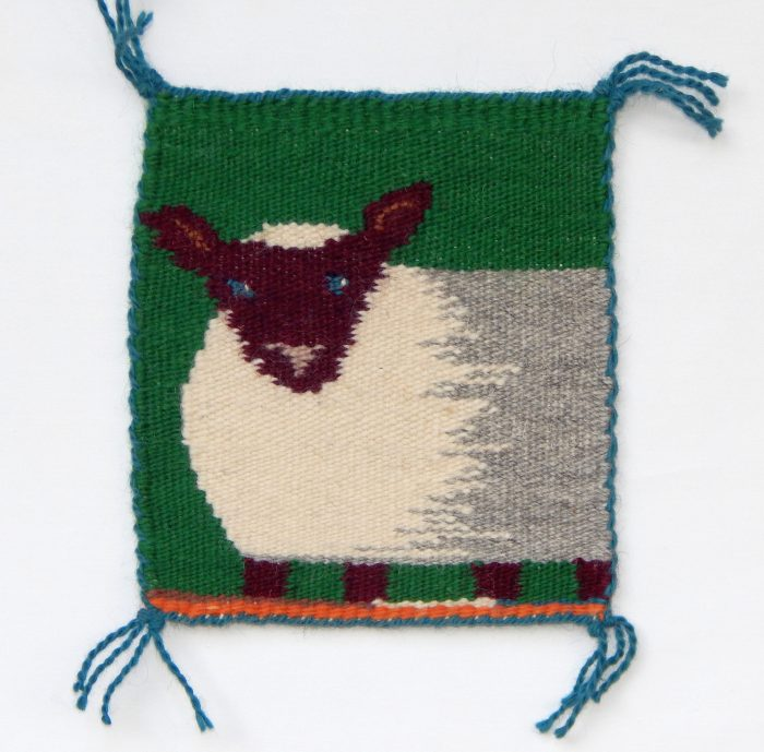 Sally Williams - Blue-Eyed Ewe - 14x14 - Handwoven Tapestry
