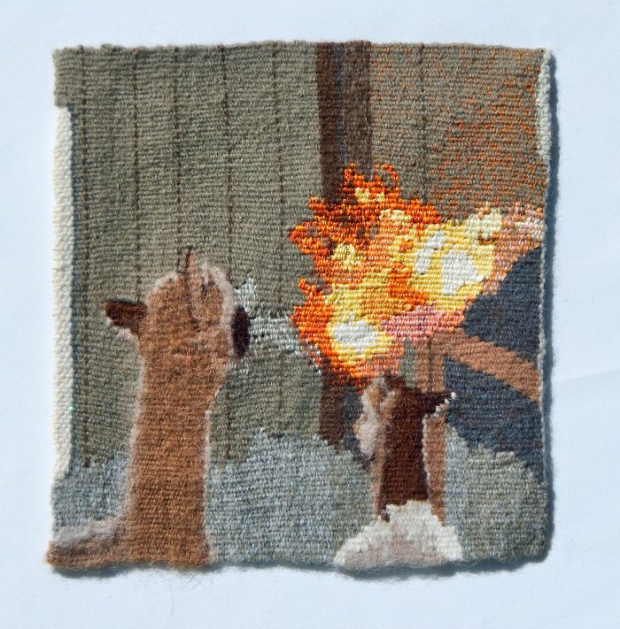 Sara Buse - Here There be Dragons - 14x14 - Handwoven Tapestry