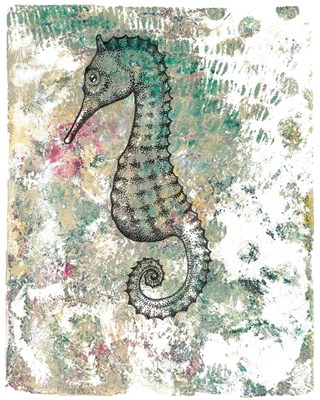 Seahorse - 9x12 - Gel press acrylic monoprint and ink on paper