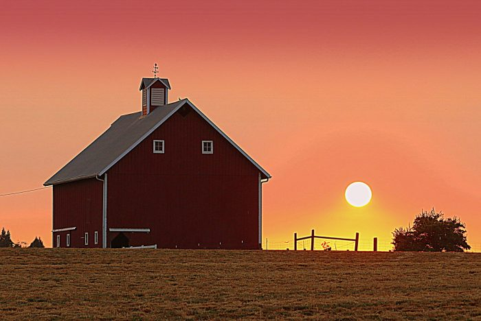 Smokey Sunset over Canby Barn - 19x13 - Photography