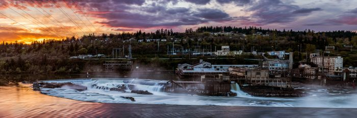 Sunset Colors Over the Falls and Paper Mill - 20x60 - Photography
