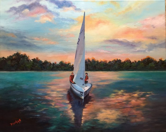 Sunset Sail on the Willamette - 33x28 - Oil