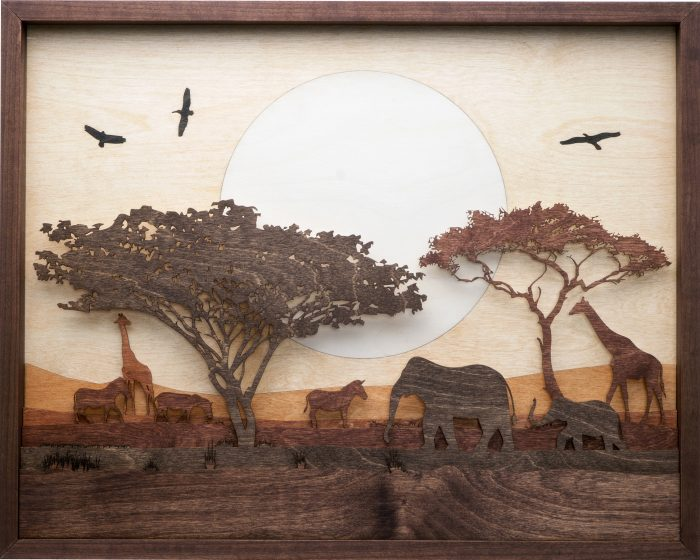 Sunset on the Serengeti - 25x20x1.5 - Wood