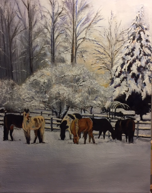 Suzanne's Horses - 16x20 - Oil