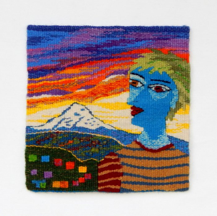 Terry Olson - Visiting Mt. Hood - 14x14 - Handwoven Tapestry