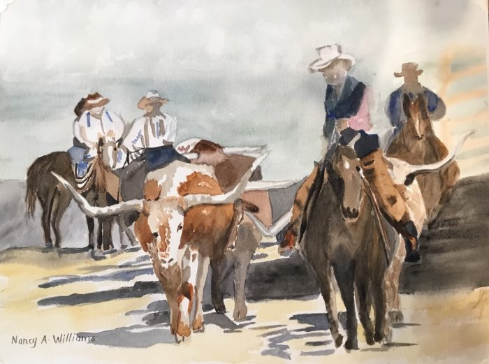 Texas Longhorns - 16x12 - Transparent Watercolor