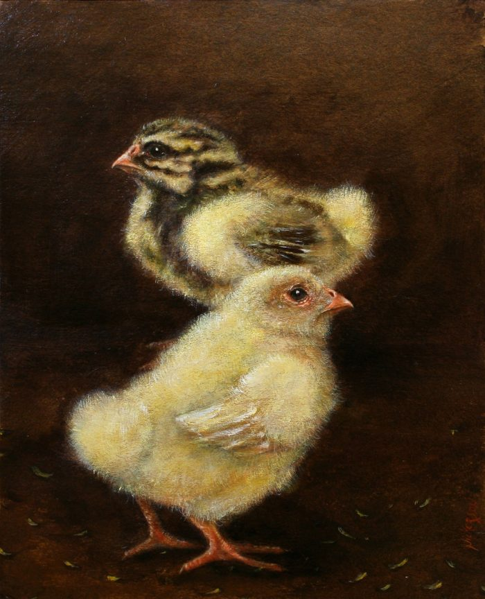Two Chicks - 8x10 - Oil on Carton