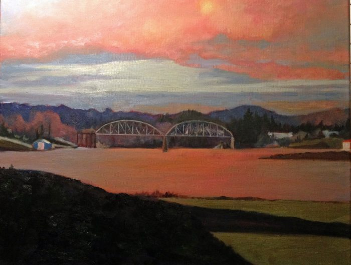 Willamette River Sunset - 16x20 - Oil